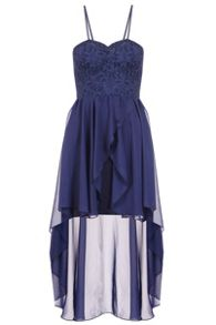 Quiz Navy Glitter Lace Dip Hem Dress