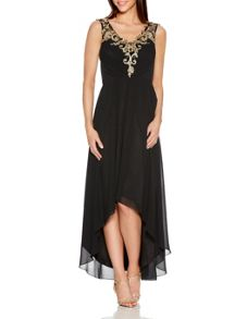 Quiz Black V Neck Mesh Dip Hem Dress