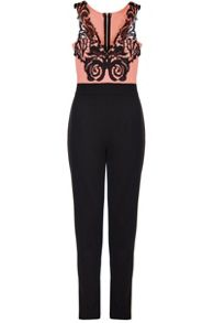 Quiz Coral Contrast Lace V Neck Jumpsuit