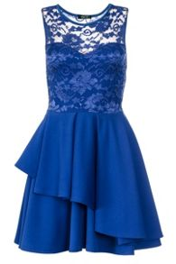 Quiz Royal Blue Lace Layer Skater Dress