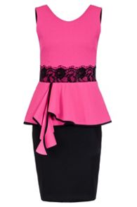 Quiz Pink Crepe Lace Trim Peplum Dress