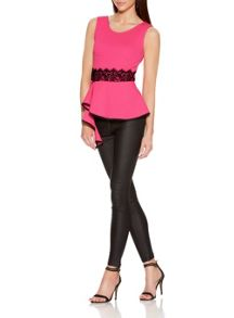 Quiz Pink Crepe Lace Trim Peplum Top