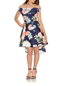 Quiz Navy And Coral Flower Print Bardot Dress