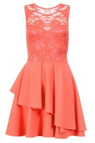 Quiz Coral Lace Layer Skater Dress