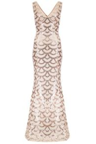 Quiz Champagne Scallop Sequin Maxi Dress