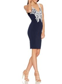 Quiz Navy Crochet Bodycon Midi Dress