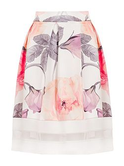 Cream Flower Print Mesh Hem Skater Skirt