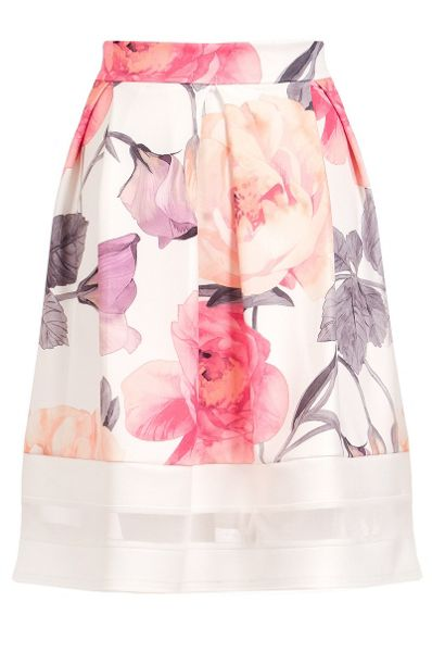 Quiz Cream Flower Print Mesh Hem Skater Skirt