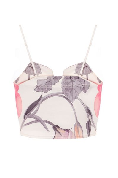 Quiz Cream Flower Crop Top