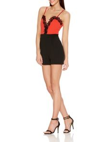 Quiz Orange And Black Lace Trim Playsuit