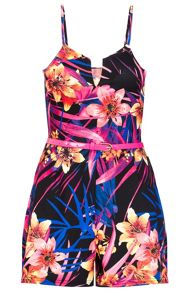 Quiz Tropical Print Belt Playsuit