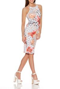 Quiz Flower Print Double Strap Midi Dress