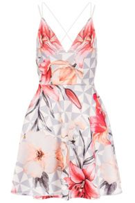 Quiz Cream Flower Print Skater Dress