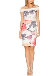 Quiz Cream Flower Print Bardot Dress