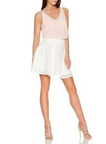 Quiz Cream Mesh Stripe Skater Skirt