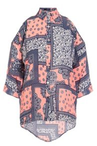 Quiz Coral Tile Print Cold Shoulder Top