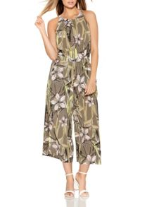 Quiz Khaki Tropical Print Jumpsuit