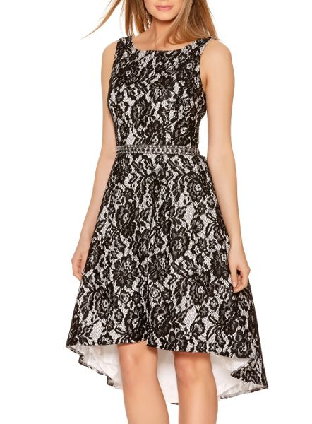 Quiz Black Lace Diamante Dip Hem Dress