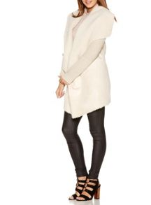 Quiz Cream Suedette Waterfall Jacket