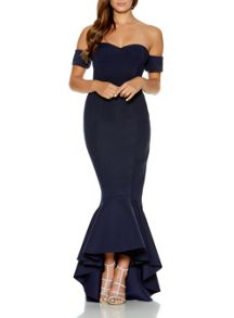 Quiz Navy Arm Cuff Fishtail Dress