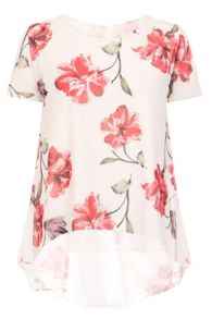 Quiz Cream Chiffon Flower Print Top
