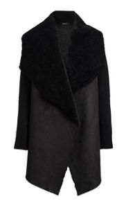 Quiz Black Suedette Waterfall Jacket