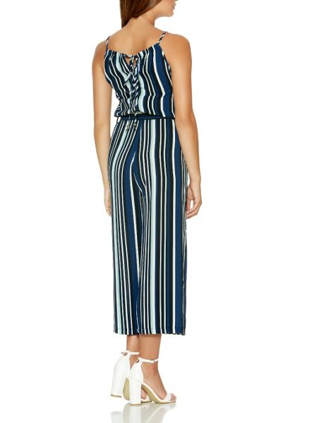 Quiz Navy And Mint Culotte Jumpsuit