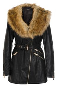 Quiz Black PU Faux Fur Collar Jacket
