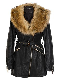 Black PU Faux Fur Collar Jacket