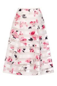 Quiz White Stripe Flower Print Skirt