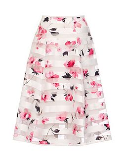 White Stripe Flower Print Skirt