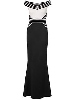 Black Bardot Fishtail Maxi Dress