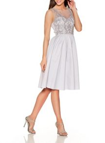 Quiz Grey Embellished Pleated Prom Dress