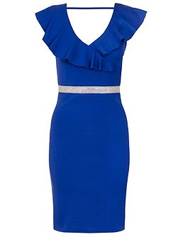Royal Blue Frill Diamante Dress