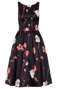 Quiz Black Satin Flower Print Dress