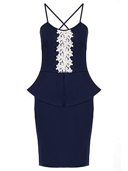 Navy Crochet Cross Back Midi Dress