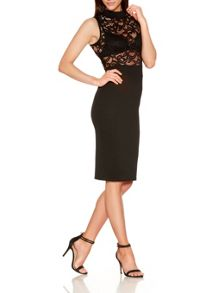 Quiz Black Lace Turtle Neck Midi Dress