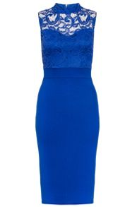 Quiz Blue Lace Turtle Neck Midi Dress