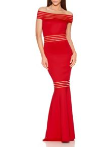Quiz Red Bardot Fishtail Maxi Dress