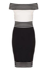Quiz QUIZ Black And Cream Bardot Midi Dress