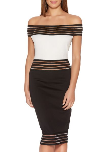 Quiz Black And Cream Bardot Midi Dress