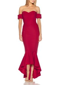 Quiz Red Arm Cuff Fishtail Dress