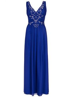 Blue Chiffon Sequin Maxi Dress