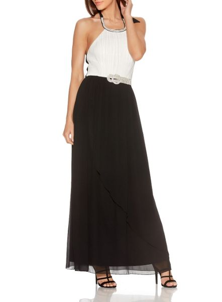 Quiz Cream Contrast Diamante Maxi Dress