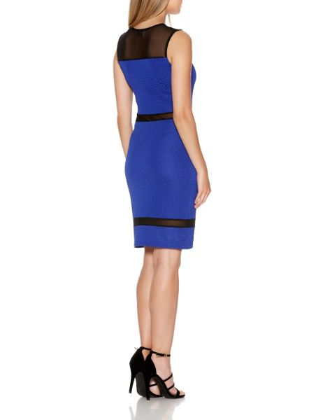 Quiz Blue Mesh Sweetheart Panel Dress