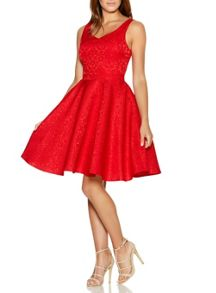 Quiz QUIZ Red Jacquard Skater Dress