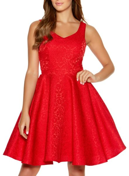 Quiz Red Jacquard Skater Dress