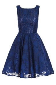 Quiz QUIZ Navy Lace High Neck Skater Dress
