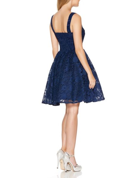Quiz Navy Lace High Neck Skater Dress