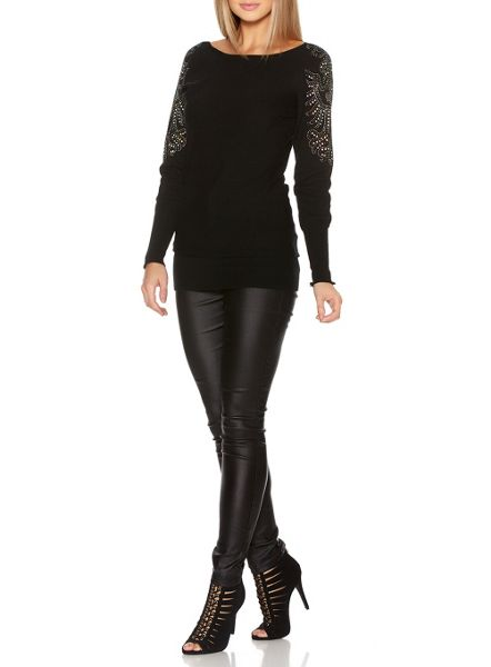 Quiz Black Light Knit Diamante Sleeve Jumper Dress